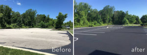 Parking lot before and after